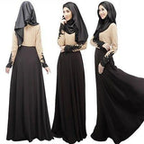 Women Kaftan Abaya Jilbab Muslim Bow Long Sleeve Maxi Dress - Toplen