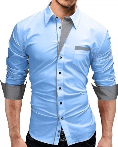 Men's fashion stylish slim fit casual long sleeve shirt - Toplen