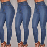 Women Denim Skinny High Waist Stretch Jeans Slim Pencil Trouser Summer - Toplen