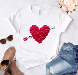 Heart flower print ladies T-shirt