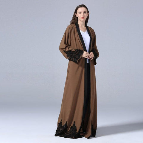 Women Long Abaya Robe With Belt Dress - Toplen