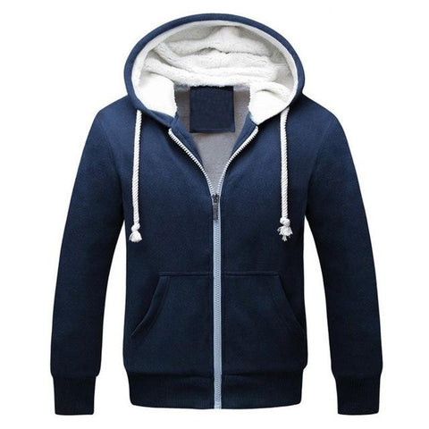 Men Winter Thicken Warm Hooded Hoodie Fleece - Toplen