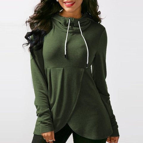 Womens Pullover Long Sleeve Hooded Loose Casual Tops - Toplen
