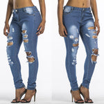 Women Ripped Skinny High Waist Jeans - Toplen