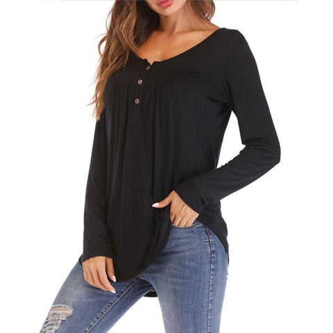 Womens Casual Long Sleeve Round Neck Hollow out Tops - Toplen