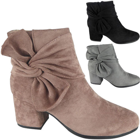 Ladies Faux Suede Zip Low Cuban Heel Work Ankle Bow Boots Shoes - Toplen