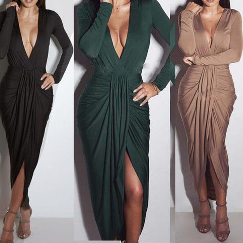 Women Plain Long Sleeve Deep V Plunge Neck Ruched Front Split Midi Dress - Toplen