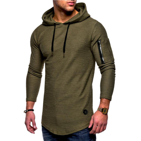 Mens Long Sleeve Slim Fit Casual Muscle Fit Hoodies - Toplen