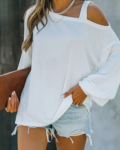 Cold Shoulder Long Sleeve Casual Top