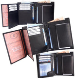 Mens Quality Soft Leather Wallet With ID Zip And Coin Pocket Black - Toplen
