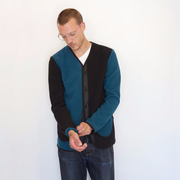 Fleece Jacket | Teal / Navy - Is this Menswear?  - 1