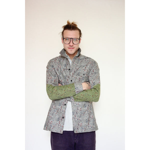American Flannel Overshirt | Light Grey Speckle - Is this Menswear?  - 1
