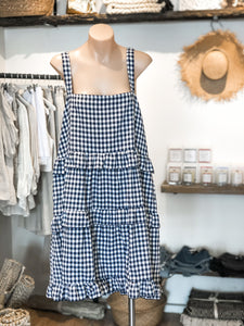 LOLA DRESS - NAVY GINGHAM