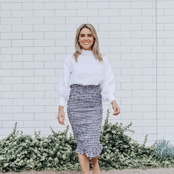 BONNIE SHIRRED SKIRT - NAVY GINGHAM