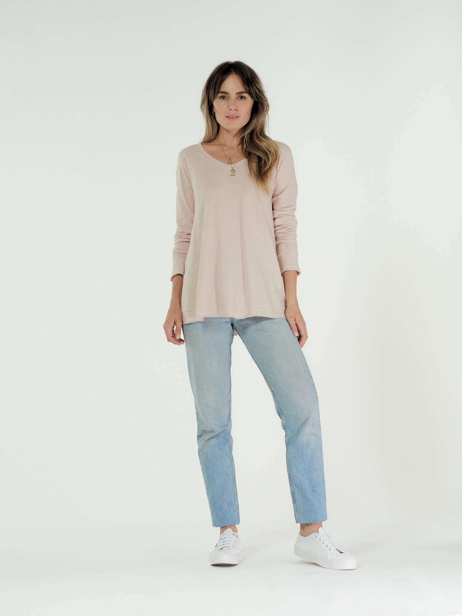 CLE ORGANICS - HARPER LONG SLEEVE TEE - BLUSH