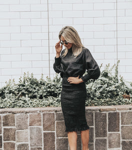 BONNIE SHIRRED SKIRT - BLACK