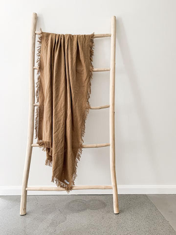 RAMIE FRINGED THROW - CINNAMON
