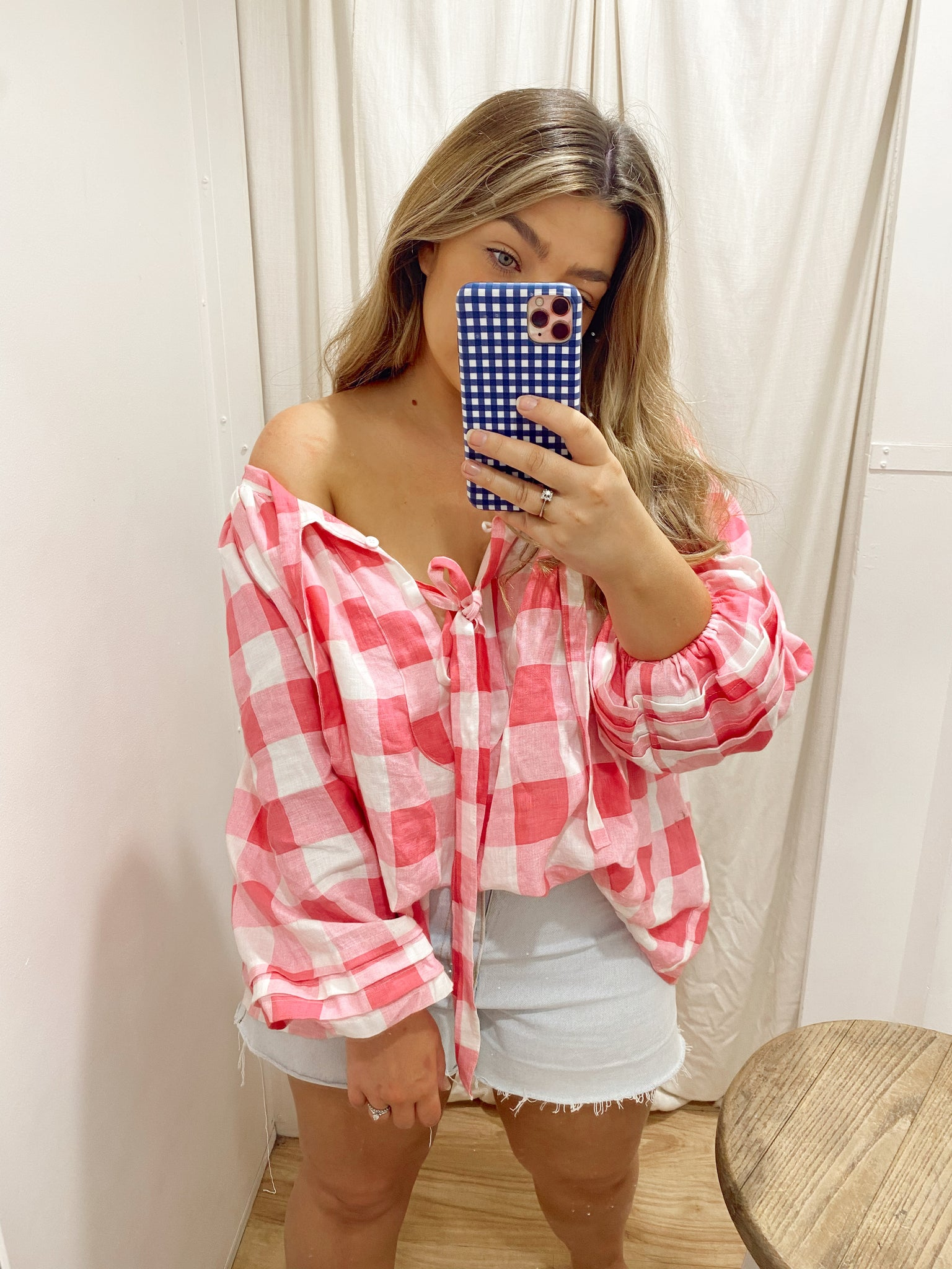 SAMMIE SMOCK BLOUSE - PINK GINGHAM