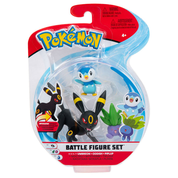 a photo of the product: Pokemon Battle Figure 3-Pack (Piplup, Oddish, Umbreon)