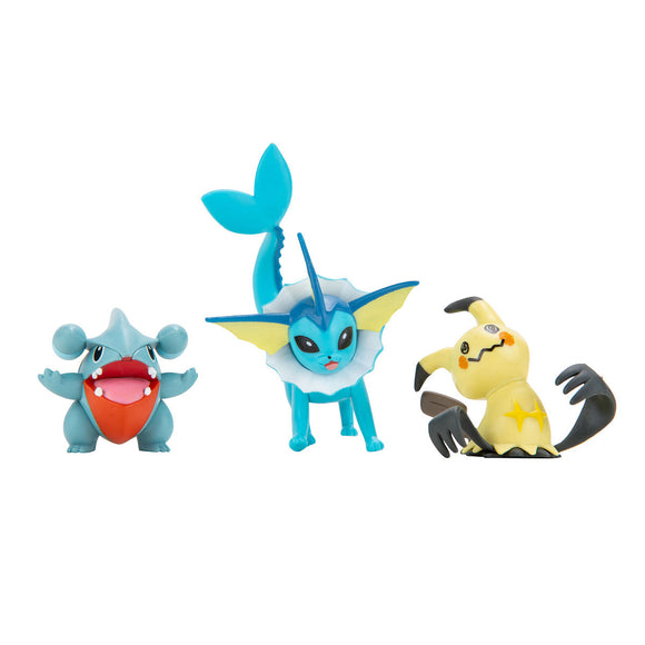 a photo of the product: Pokemon Battle Figure 3-Pack Gible, Mimiskyu, Vaporeon)
