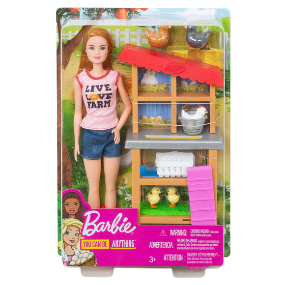 a photo of the product: Barbie Kippenboerinpop en Speelset