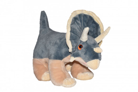 a photo of the product: Wild Republic knuffel Dinosauria Triceratops 30 cm pluche grijs
