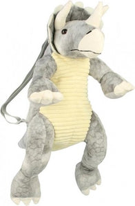 a photo of the product: Grimini dino Triceratops plucherugzak en knuffel 7 liter grijs