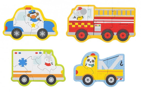 a photo of the product: Petit Collage mijn eerste puzzels: reddingswagens 4 puzzels