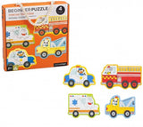 a third photo of the product: Petit Collage mijn eerste puzzels: reddingswagens 4 puzzels