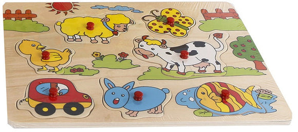 a photo of the product: Van Manen knoppuzzel junior 30 x 22 cm hout 8-delig
