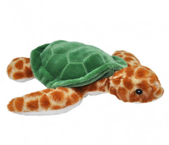 a photo of the product: Wild Republic knuffel zeeschildpad Ecokins junior 30 cm pluche bruin/groen