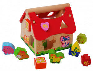 a photo of the product: Gerardo's Toys boerderijhuis motoriekspel hout rood/bruin