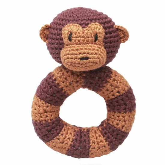 a photo of the product: natureZOO ringrammelaar aap gehaakt 14 cm bruin