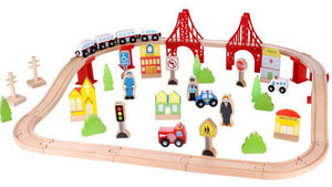 a photo of the product: Tooky Toy speelset trein junior 90 x 40 x 12 cm hout 55-delig