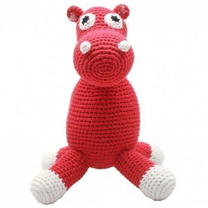 a photo of the product: natureZOO knuffeldier nijlpaard gehaakt 20 cm rood