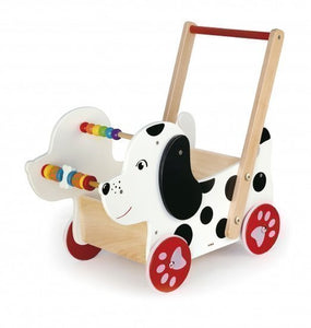 a photo of the product: Viga Toys babywalker hond 47 cm wit/zwart