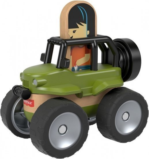 a photo of the product: Fisher-Price Wonder Makers jeep 9 cm groen/blank 4-delig