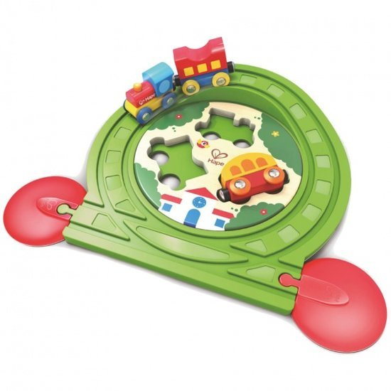 a photo of the product: Hape houten treinset met puzzel 6-delig