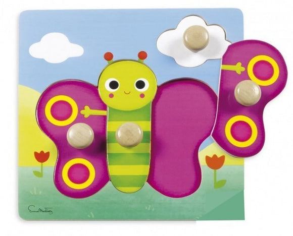a photo of the product: Goula noppenpuzzel vlinder 22 x 22 cm 4 stukjes