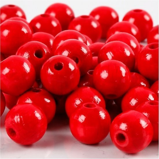 a photo of the product: Creotime Houten kralen 10 mm rood