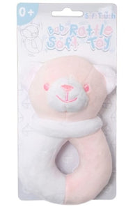 a photo of the product: Soft Touch rammelaar beer meisjes 12 cm polyester roze