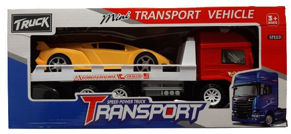 a photo of the product: Jonotoys raceauto + transporter jongens 25 cm geel/rood 2-delig