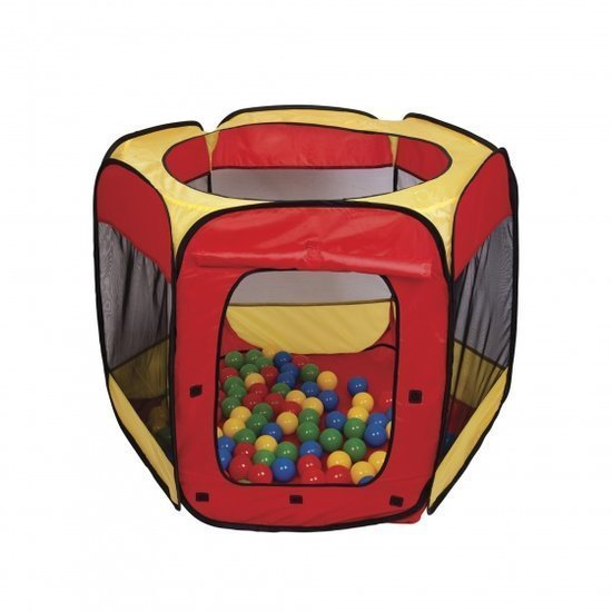 a photo of the product: Paradiso Toys speeltent met 100 ballen 100 x 75 cm rood/geel