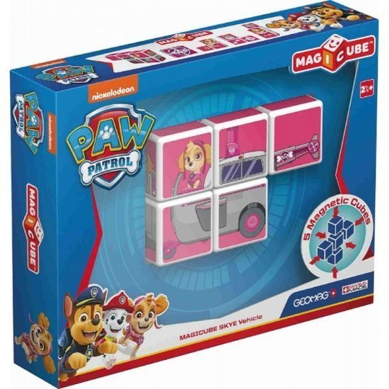a photo of the product: Geomag MagiCube Paw Patrol Skye Helicopterk 5-delig roze