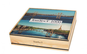 a photo of the product: TomTecT bouwkit junior hout/kunststof naturel/blauw 1000-delig