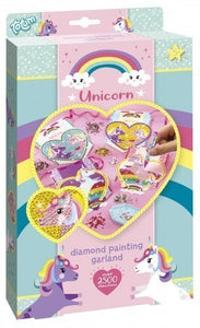 a photo of the product: Totum knutselset Unicorn Garland Diamond Painting 4-delig
