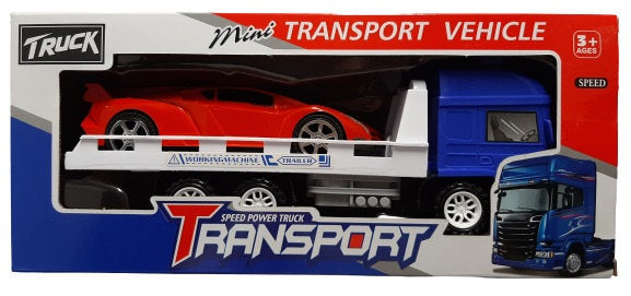 a photo of the product: Jonotoys raceauto + transporter jongens 25 cm blauw/rood 2-delig