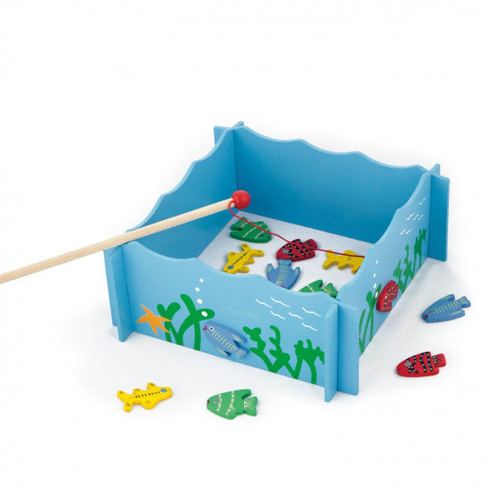 a photo of the product: Viga Toys magnetisch visspel junior 28 x 28 cm hout blauw