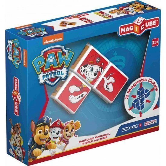 a photo of the product: Geomag MagiCube Paw Patrol Marshall, Rubble en Zuma 3-delig