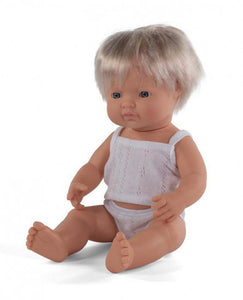 a photo of the product: Miniland babypop jongetje met vanillegeur 38 cm blond